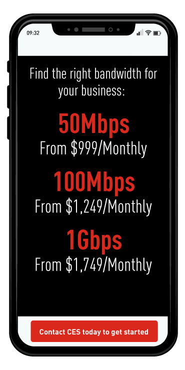 Iphone displaying Scalable Internet Bandwidth  options.